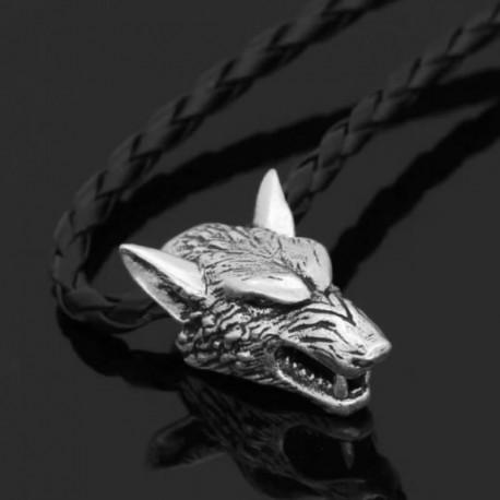 Collier viking tête de loup